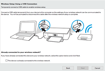 123 hp deskjet2652 usb connection to wireless network